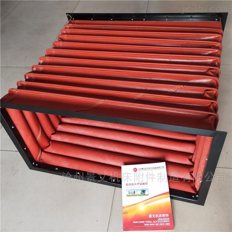 红色硅胶布方形通风口伸缩软连接价格
